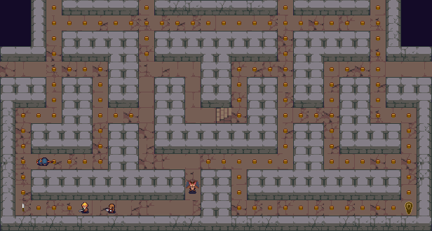 Pixel art character running through maze and being cornered by several monsters